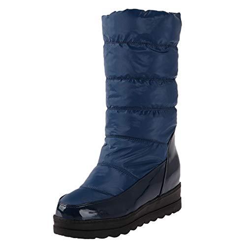 Makefortune  Damen Winter Schneeschuhe Wasserdicht Warme Daunen Pelz Gefüttert Keil Plateau Wadenmitte Stiefel Rutschhemmend -