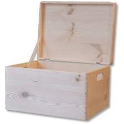 Cofre de madera llana con tapa - Caja de jugetes Cofre de almacenaje - 39.5x 30x 24cm