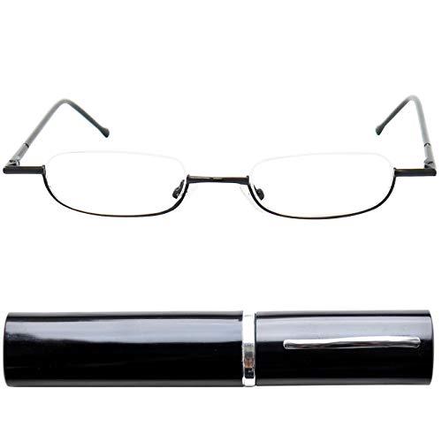 Leichte Metall Mini Halbbrille Lesebrille | Edelstahl Rahmen (Schwarz) | mit GRATIS Slim-Fit Alu Etui | Lesehilfe für Damen und Herren von Mini Brille | +2.0 Dioptrien