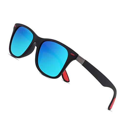 Sunmeet Polarisierte Sonnenbrillen Herren Damen Retro Fahren Elastizität Outdoor Eyewear Sonnenbrillen S1003(Blau Schwarz)