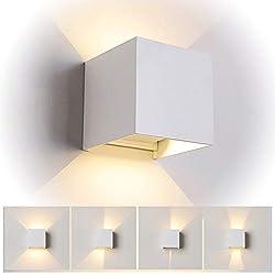 12W LED Apliques de Pared Interior/exterior, Lamparas de salon,Dormitorio, Jardín De Iluminacion con ángulo ajustable Diseño impermeable IP65 3000K Blanco Cálido (Blanco)