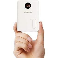Romoss Mini Batterie Externe 10000mAh, Power Bank Type C avec 2 Sorties(3.1A Total) et 3 Types Entrées, Compatibilité Universelle avec Tous Les Téléphones Portables, Tablettes
