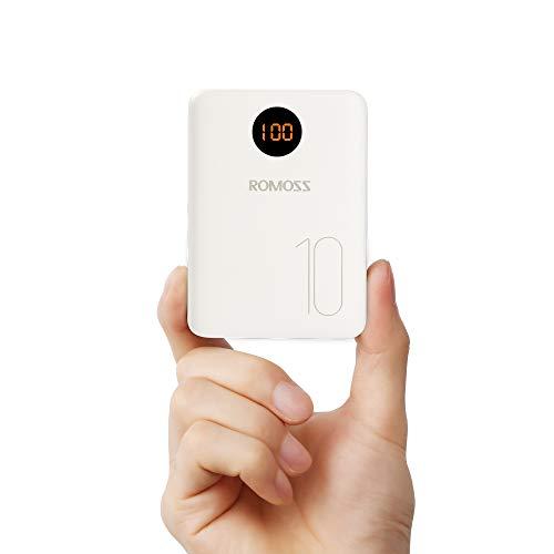 ROMOSS OM10 Bateria Externa Movil  Carga y Se Recarga Rápidamente.  Tres puertos de entrada: Ligtning , Micro USB y Type-C; 2.1A de entrada, recargue un 45% más rápido que un paquete de baterías de 1 A Dos puertos de salida: Carga dos dispositivos si...