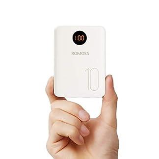 Romoss Batería Externa Móvil 10000mah Pequeño, Power Bank 2 Entrada Micro USB Tipo c, 2 Salidas USB 2,1A para la Mayoría de los Smartphone