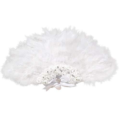 Kostüm Weiß Flapper - Damen Fächer Marabou Feder 1920s Vintage Stil Retro Handfächer Damen Gatsby Kostüm Flapper Zubehör