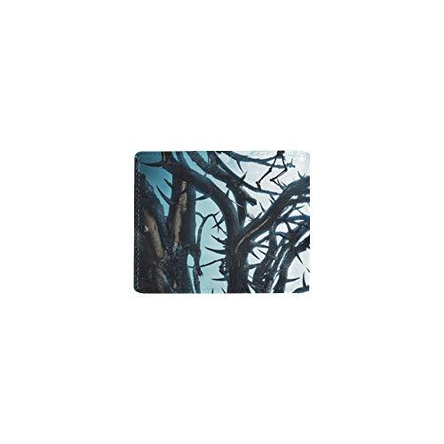 Halloween Kürbis Spooky Tree Night Cool Leder Visitenkarte Münze Id Beutel Inhaber Reise Clutch Geldbörse Geldscheinklammer Brieftasche Fall Für Mädchen Männer Und Frauen Vordere Tasche Scheckheft