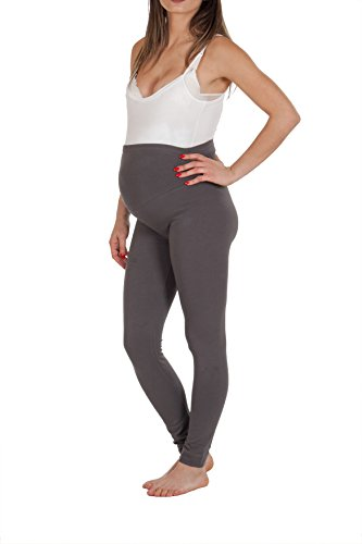 Premamy - leggings per premaman, modello conformato, cotone bielastico, pre-post parto - grigio - iii (s)