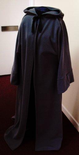 152.40 cm Länge, schwarzer Jedi Fleece Bademantel für Erwachsene mit Frontöffnung-//Zeremonie Ritual Pagan/Jedi/Assistent-LARP