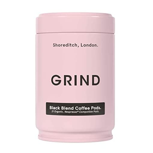 Grind Organic Coffee Capsules | Nespresso Compatible Coffee Pods | Black Blend | for Coffee Without Milk | Nutty & Chocolatey | Organic, Better Than Fairtrade & 100% Compostable Capsules – 21 Pods