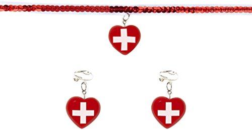 Widmann 9863h-Set Sexy Krankenschwester, Halskette mit Ohrringe, in Einheitsgröße (Krankenschwestern Kostüm Billig)