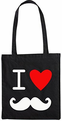 Mister Merchandise Tote Bag I Love Moustache Borsa Bagaglio , Colore: Nero Nero