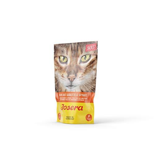 JOSERA Soup Huhn mit Karotte & Spinat (16 x 70 g)   getreidefreies Katzenfutter   extra Flüssigkeit für trinkfaule Katzen   Super Premium Nassfutter für ausgewachsene Katzen   16er Pack