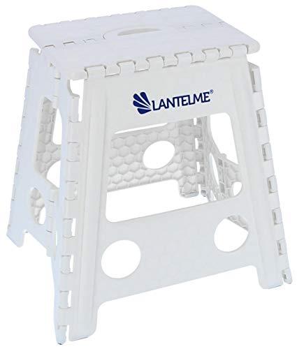 Lantelme sgabello pieghevole, carico massimo 120kg sgabello in plastica, colore bianco, adatto per la casa e per studio medico.