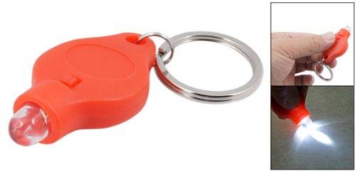 Preisvergleich Produktbild Tragbare Metall Schlüsselanhänger w Mini weiß LED-Licht Torch Anhänger Orange Rot
