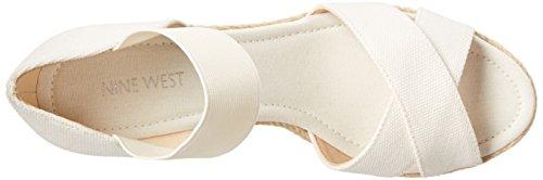 Nine West Renu Toile Sandales Compensés White-White