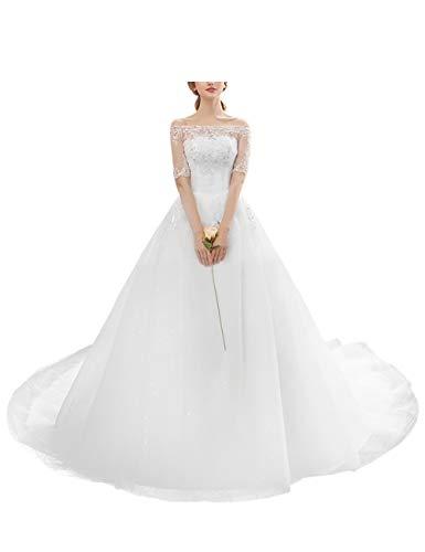 besbomig Damen Rückenfrei Spitze Hochzeitskleider A Linie Brautkleid Brautjungfernkleid - Elegant...
