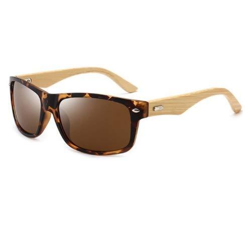 WENZHEN Rechteckige Sonnenbrille aus Bambusbein, Leopard