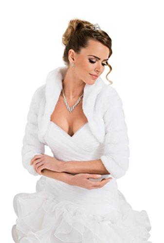 Bolerojäckchen Braut Jacke Bolero aus künstlichem Fuchspelz mit 3/4 länger Ärmel mit Kragen, volles Futter Elfenbein