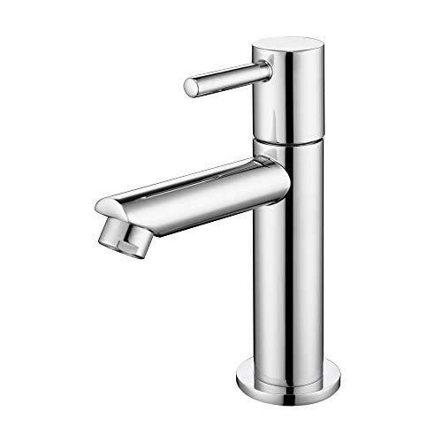 AiHom Kaltwasser Armatur für Bad Klein Kaltwasserhahn chrom Wasserhahn Einhebelarmatur Badarmaturen Standventil Waschtisch Standhahn