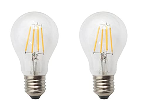 (Pack of 2) AC 220V 4W E27 Dimmable LED Filament Globe Light Bulb, Golbe Shape Bullet Top, 40W Incandescent Replacement Warm White 2700K 400LM