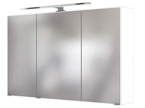 3D-Spiegelschrank Badschrank Hängeschrank Spiegel Wandschrank Badmöbel Baabe I Weiß 100 cm