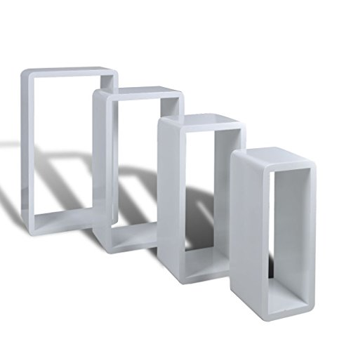 vidaXL Etagères Design Murale 4 Cubes blanc étagère de rangement étagères murales#FE