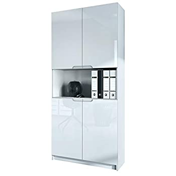 Vladon Office furniture Storage Cabinet Cupboard Logan V2, Carcass in White matt/Fronts in White High Gloss