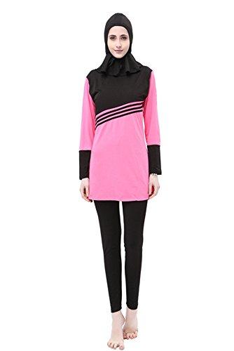 KINDOYO Damen Muslimischer Badeanzug Full Cover Bescheidene Badebekleidung Elegante Swimwear Bademode Burkini, Rosa, EU 4XL=Tag 5XL