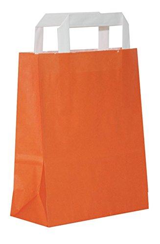 (50 Papiertragetaschen Papiertaschen Henkeltaschen Tragetaschen Tüten Papiertüten | Orange | recycelbar (22 x 11 x 28 cm))