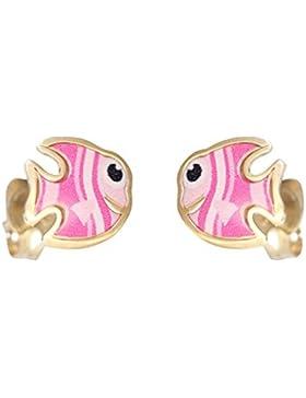 Hobra-Gold Kinder Ohrstecker Gold 585 kleine Fisch Ohrringe pink emailliert Goldstecker