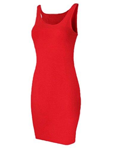MISSMAO Vestiti Donna Eleganti Vestito Stretto Senza Maniche Colletto Tondo  XL Rosso fb644ae69de