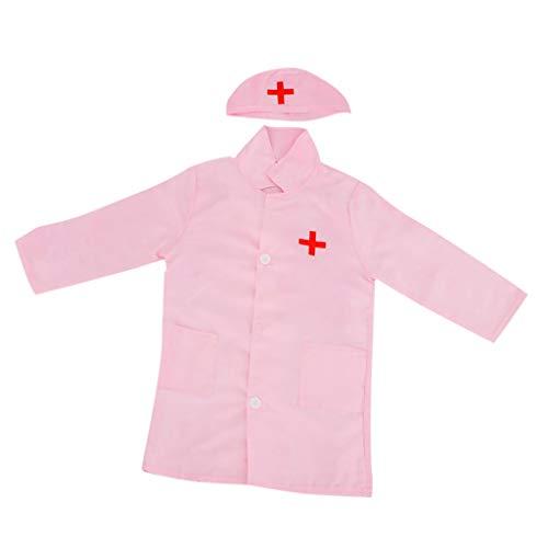 Homyl Kinderkostüm Arzt/Krankenschwester Kostüm Kinder Arztkittel mit Hut für Halloween, Cosplay, Mottoparty, Rollenspiele usw. - Pink