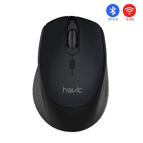 HAVIT Bluetooth Maus 4.0 Funkmaus 2.4G Dualmodus Kabellose Maus 2400 DPI 3 Stufen einstellbar für PC, Laptop, Computer, MacBook (MS57GT, Schwarz)
