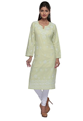 ADA Hand Embroidered Lucknow Chikankari Regular Wear Cotton Kurta Kurti A166259