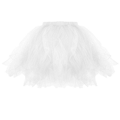 UFACE Damen Plissee Tutu Erwachsenen Tutu Rock Plissee Mini Röcke Geripptes Kleid Silhouette mit Blumen Lose geschichtetes Kleid Ein Schulter Kleid (Weiß, One Size) (80er Jahre Mini-kleid)