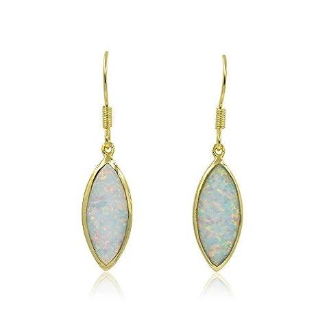 Fire Opal Blanc en forme de feuille ton or Boucles d'oreilles crochet pendantes en Poisson avec boîte cadeau