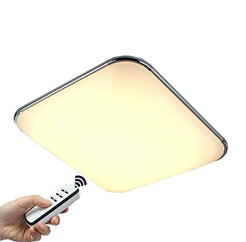 Natsen® LED Deckenlampe Modern Wandlampe Wohnzimmer Silber 36W voll dimmbar Fernbedienung Chrom I503Y