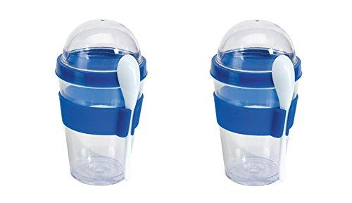 Müslibecher Müslibecher Joghurtbehälter Müslidose 2 Stück aufschraubbarer Deckel inkl Löffel Blau mit Halterung