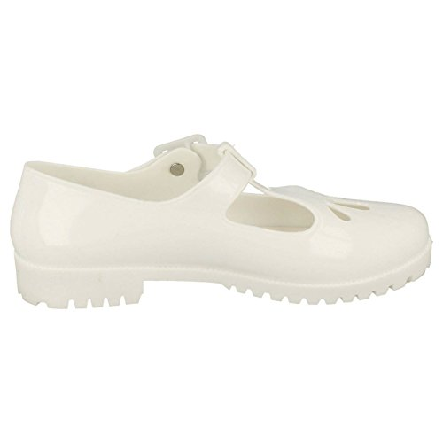 Femmes Spot On Chaussures Bout Fermé Jelly Blanc