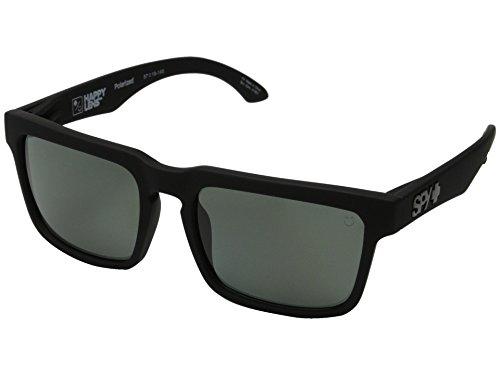 Spy Helm Sonnenbrille matt schwarz mit grau-grün-polarisierten Gläsern + Aufkleber