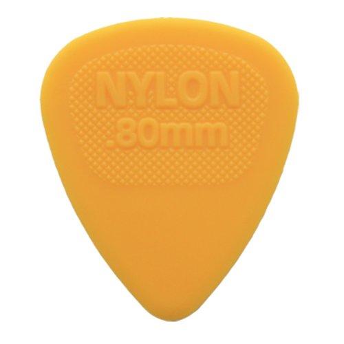 12 x Nylon De Dunlop Midi Selecciones De La Guitarra / Púas - 0.80mm Amarillo En Un Práctico Recoger Estaño
