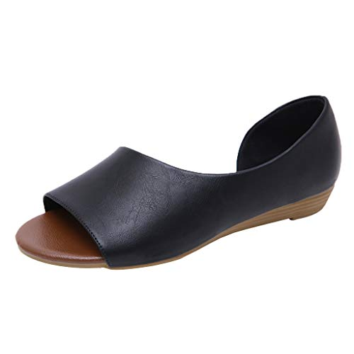 Fenverk Damen Flache Schuhe Leder Pumps Blockabsatz Sommer Low Top Ankle Schuhe Elegante Vintage Flats Bequem Schwarz, Beige, Gelb Gr.36-42(Schwarz A,40 EU)
