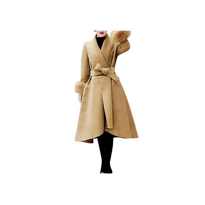 URSING Mantel Damen Wintermantel Wollmantel Elegant Trenchcoat Faux Pelz Kragen Parka Herbstjacke Warm Gefüttert Revers…