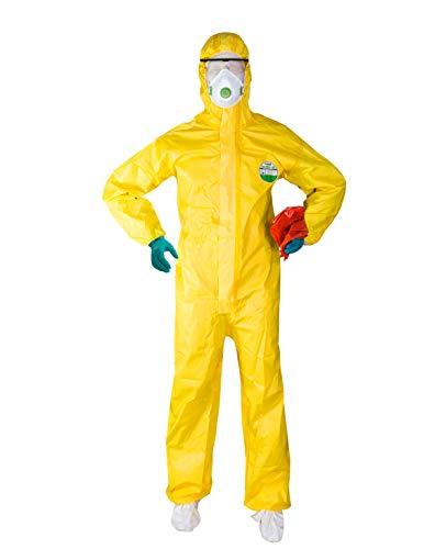 Müllsack Kostüm - ACE ProTec B.S.A. Set Biologische Schutzausrüstung - Schutzanzug, Schutzbrille, Nitrilhandschuhe, FFP3-Staubmaske & Müllsack - Chemikalienschutzanzug mit Zubehör - Größe L