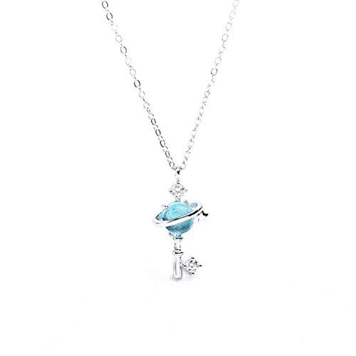 Unique Life Blue Planet Halskette Sterling-Silber 925 Sternenhimmel Frische Schlüsselbein Kette Temperament Persönlichkeit Trendy Weibliche Halskette