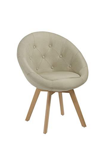 Duhome Stuhl Esszimmerstuhl Creme Küchenstuhl mit Holzbeinen Sessel Retro Stoffbezug Beige Farbauswahl 509G