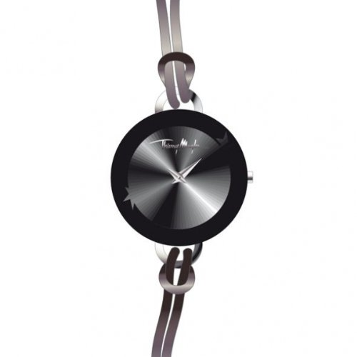 Thierry Mugler - 4705401 - Montre Femme - Quartz Analogique - Cadran Noir - Bracelet Cuir Noir