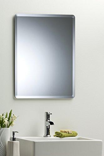 Rechteckige Abgeschrägte Glas (Eleganter Badezimmer-Wandspiegel, rechteckig, 60cm x 45cm, mit abgeschrägter Kante–Wandmontage)