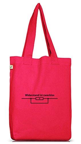 Shirtstreet24, WIDERSTAND IST ZWECKLOS, Jutebeutel Stoff Tasche Earth Positive Hot Pink