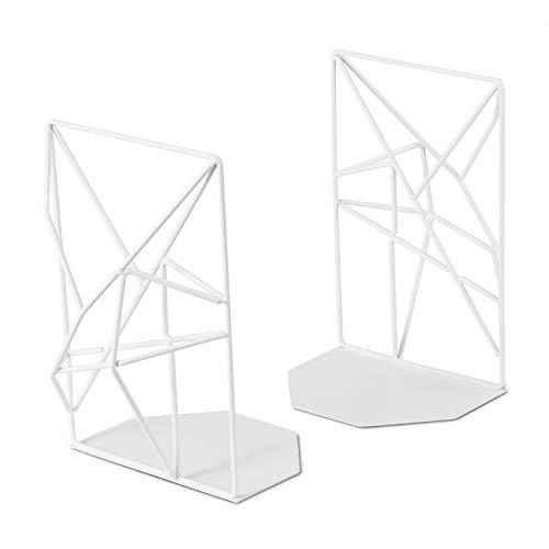 SRIWATANA Buchstützen Metall Weiß, Buchhalter für Regale,geometrisches Design, Rutschfest, 1 Paar (MEHRWEG)